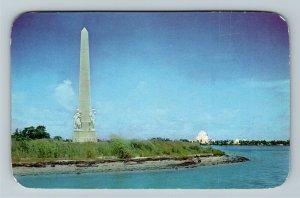 Miami Beach FL- Florida, Flagler Memorial Monument, Biscayne Bay,Chrome Postcard