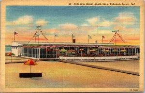 Vtg 1940s Rehoboth Indian Beach Club Delaware DE Linen Postcard