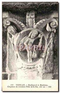Postcard Old Vezelay Basilica Madeleine Chapiteau the Third Pillar of the Nav...