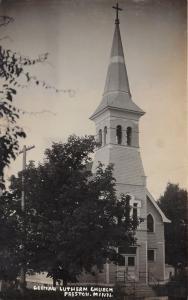 Preston Minnesota~German Lutheran Church~Cross on Steeple~c1920 Real Photo PC