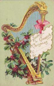 Christmas Greetings With Harp and Flowers 1908
