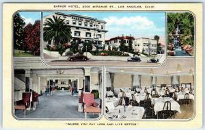 LOS ANGELES, California  CA    Roadside  BARKER HOTEL  ca 1940s Linen   Postcard
