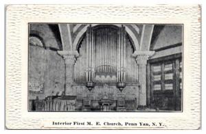 Interior, First Methodist Episcopal Church w/ Pipe Organ, Penn Yan, NY Postcard