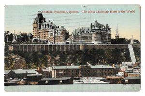 Canada Chateau Frontenac Hotel River View Valentine Sons 1915 Vintage Postcard
