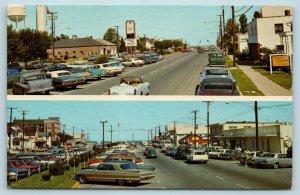 Postcard DE Rehoboth Beach Delaware Rehoboth Avenue Street View 1960s AG9