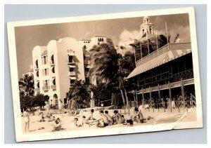 Vintage 1930's RPPC Postcard Beach Goers Mid Century Architecture