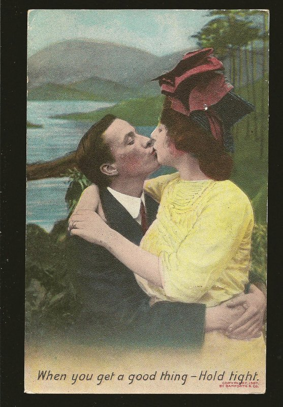 Bamforth & Co Coptright 1907 Lovers Kissing Color Postcard Posted Toronto 1909