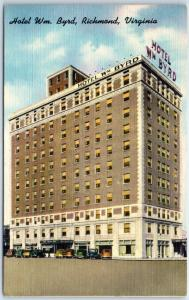 Richmond, Virginia Postcard HOTEL WILLIAM BYRD Street View Linen 1950 Cancel