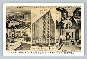 Detroit MI- Michigan, Detroit Leland Hotel, Advertising, Chrome Postcard