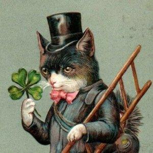 Anthropomorphic lucky chimney sweep cat top hat clovers antique postcard emboss