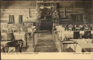 Yellowstone National Park Old Faithful Inn Interior Haynes Sepia UDB c1905 PC