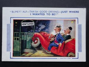 Comic Postcard DRUNKS CRASH CAR INTO PUBLIC LOO c1950/60's Bamforth 1312