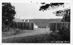 Fort Wilkins Michigan Village Gate Real Photo Antique Postcard K53355