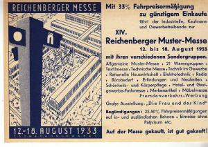 Germany - Reichenberger Messe - Czechoslovakia 1933 Handbill