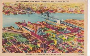 Delaware River Bridge Connecting Philadelphia & Camden New Jersey Showing...