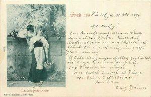 Gruss aus Zurich 1899 Liebesgefluster ( Fluffy Love ) Lovers Couple Amour