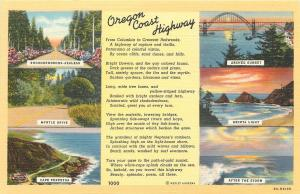 Oregon Coast Highway US 101~Cape Perpetua~Heceta Light~Myrtle Drive~1940s PC