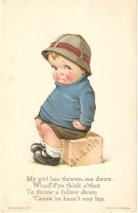 Weeping little boy. My girl has throiwn..Humorous vintage American PC