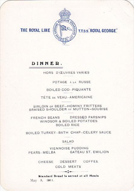 Canadian Northern Steamship S S Royal George Dinner Menu May 5, 1911