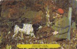 Hunter With Rabbit & Dog Greetings From Syracuse Kansas 1955