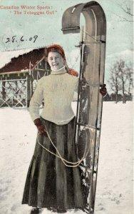 br105513 canadian winter sports  toboggan girl mount royal montreal  canada