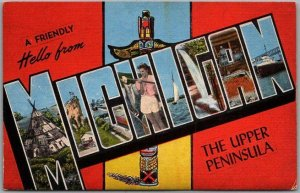 Vintage MICHIGAN Upper Peninsula Large Letter Postcard Totem Pole KROPP Linen