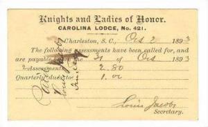Membership Dues,Carolina Lodge No.421,Charleston,SC1893