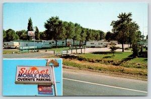 North Platte Nebraska~Sunset Mobile Home Travel Trailer Park~Star Sign~1960s PC