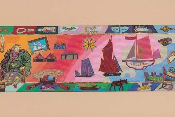 Boat Ship Navigation Battle Maldon Essex Military Medieval Embroidery Postcard