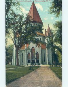 Unused Divided-Back CHURCH SCENE Schenectady New York NY A8445