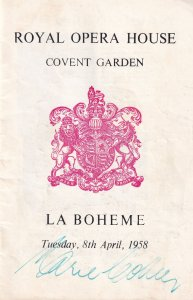 Marie Collier Australian Soprano Opera La Boheme London Hand Signed Programme