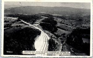 Bedford, Pennsylvania Postcard Super Standard Oil Station Aerial View c1950s