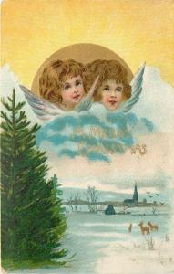 Christmas Angel Faces in Blue Clouds & Gold Sun~Deer Below~Evergreen Tree~Emboss