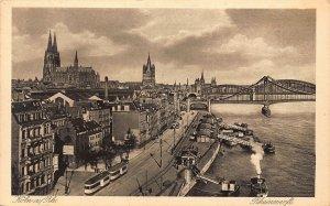 Koln am Rhein RHeinwerft Bridge River Boats Panorama Postcard