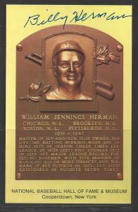 Billy Herman Autograph on HOF Plaque