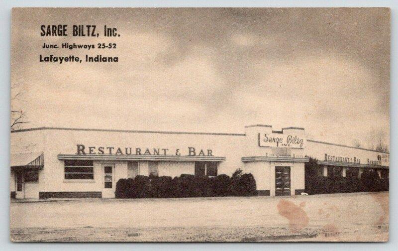Lafayette Indiana~Sarge Biltz Restaurant & Bar~Roadside Diner~Art Deco~1940s PC