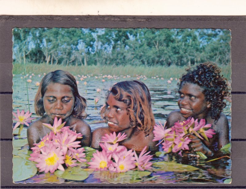 P1764 RPPC vintage australia aboriginal girls in  a northern territory lagoon,