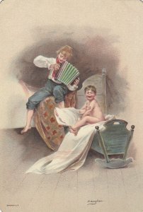 Child crying in cradle, boy playing accordian, 1900-10s
