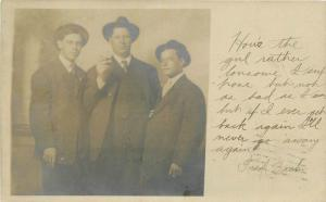 1908 Three well dressed men in hats RPPC real photo postcard 10926
