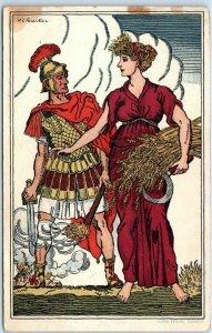 1916 Artist-Signed H.C. Fourtier Postcard Bundesfeier w/ Swiss Stamp & Cancel