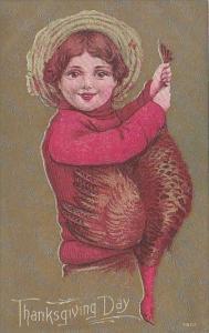 Thanksgiving Young Boy Standing On Pumpkin Watching Turkey
