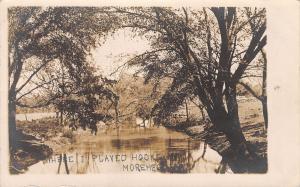 Morehead Kansas~Where I Played Hookey: Down By This Creek~RPPC 1913