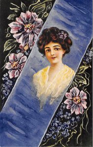 Woman with brunette hair and flowers Artist C. Ryan Glamour Woman Unused