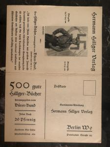 Mint WW2 Germany propaganda Postcard Hermann Hillger Publishes Third Reich