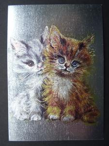 Pussy Cat CUTE BIG EYE KITTENS c1980's by F J Warren DUFEX FOIL Postcard