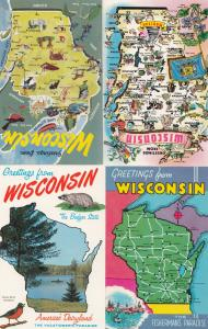 Greetings From Wisconsin 4x Map Postcard s