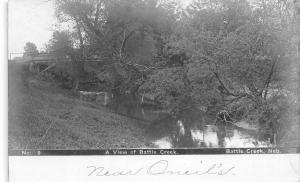 Battle Creek Nebraska~Battle Creek View~Wooden Bridge~Near O'Neil's~c1912 RPPC