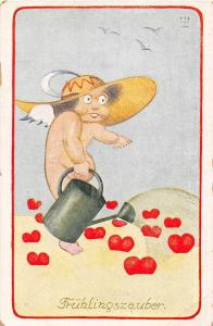 D83/ Valentine's Day Love Holiday Postcard c1910 Kunst German Watering Can 20