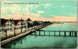 1910s St. Augustine, Florida Postcard Sea Wall and Water Front Pier View