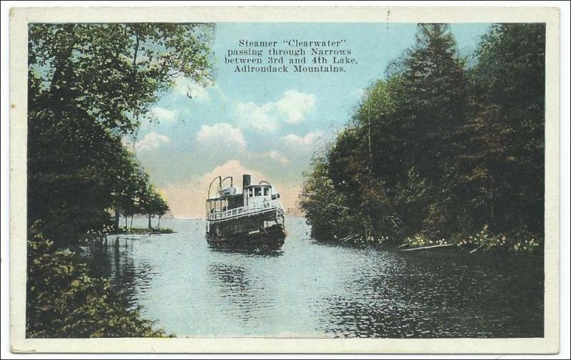NY - Steamer Clearwater, Adirondacks.*RPO-Fulton Chain & Old Forge RR